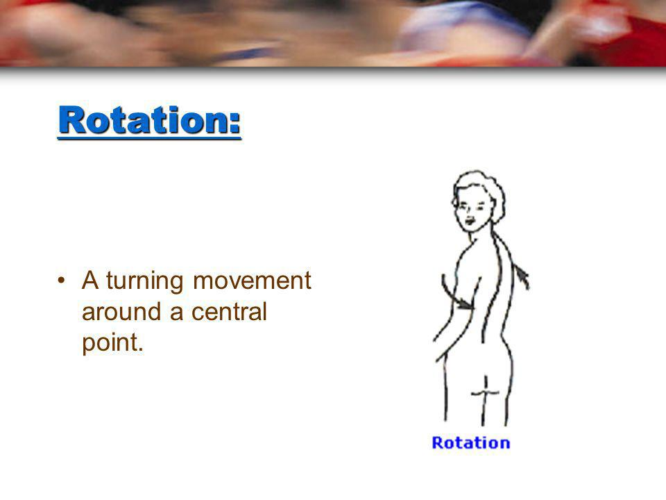Rotation: A turning movement around a central point.