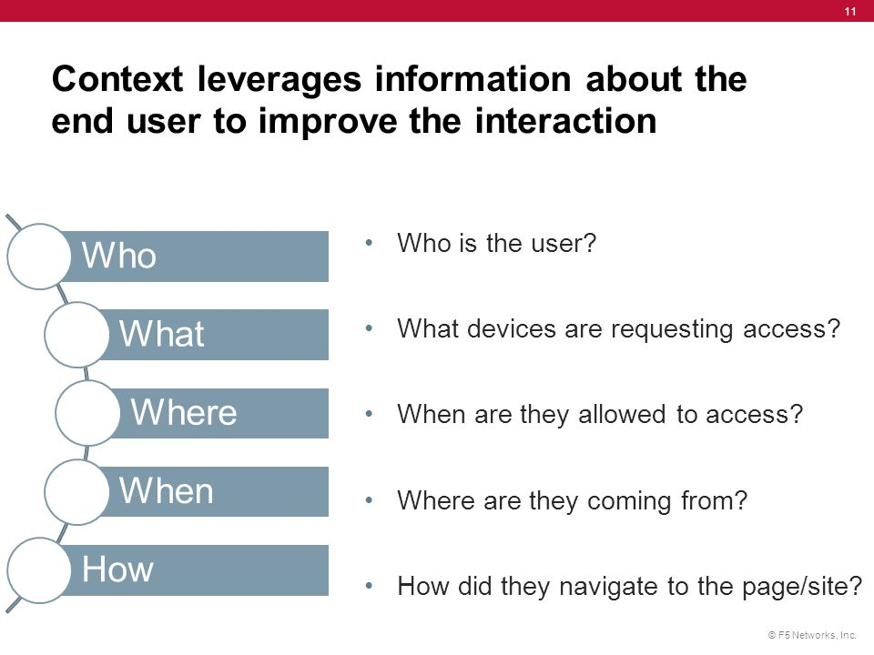 Context leverages information about the end user to improve the interaction