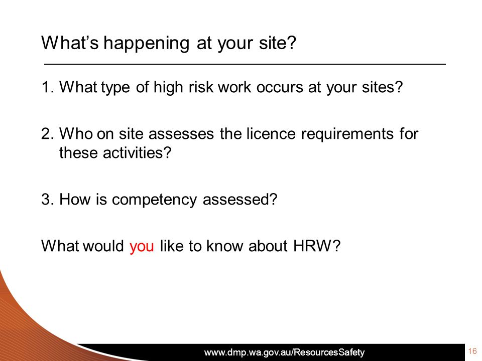 What's happening at your site