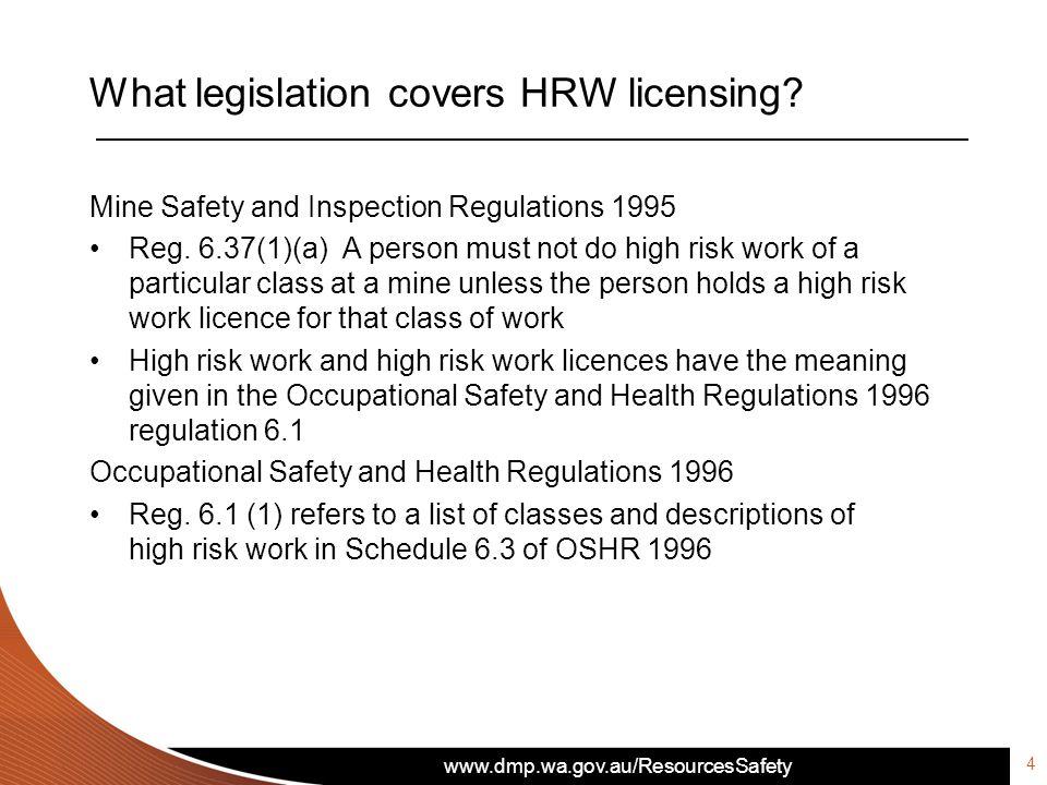 What legislation covers HRW licensing