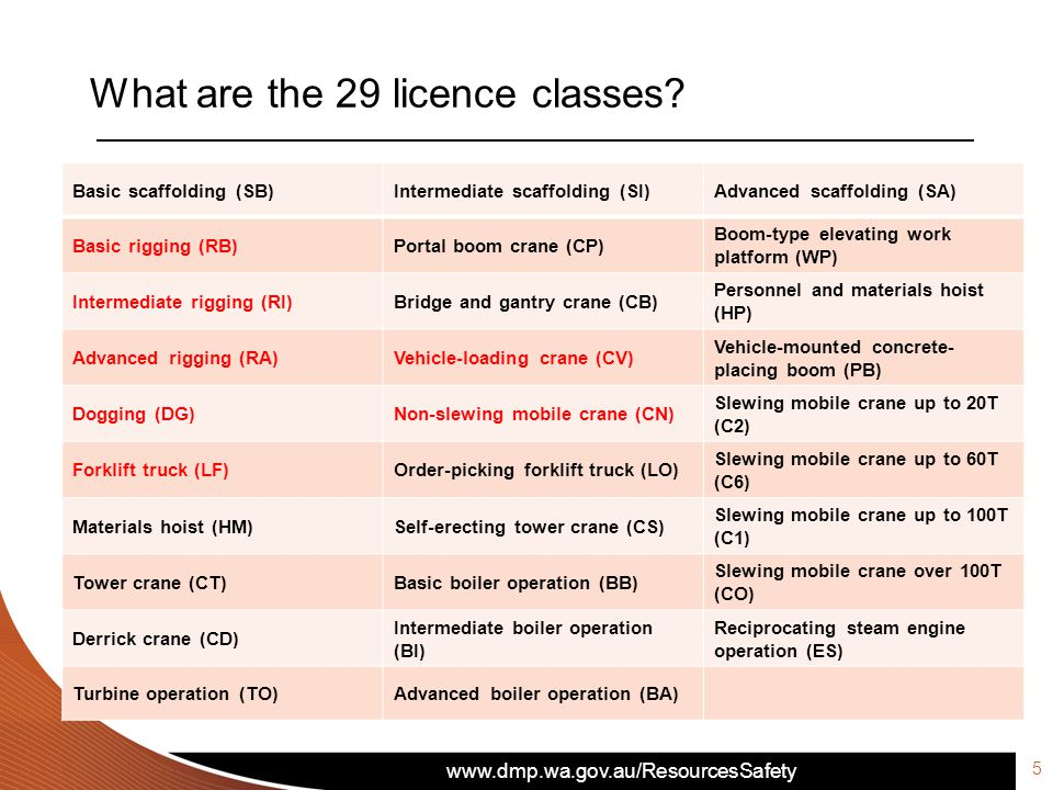What are the 29 licence classes