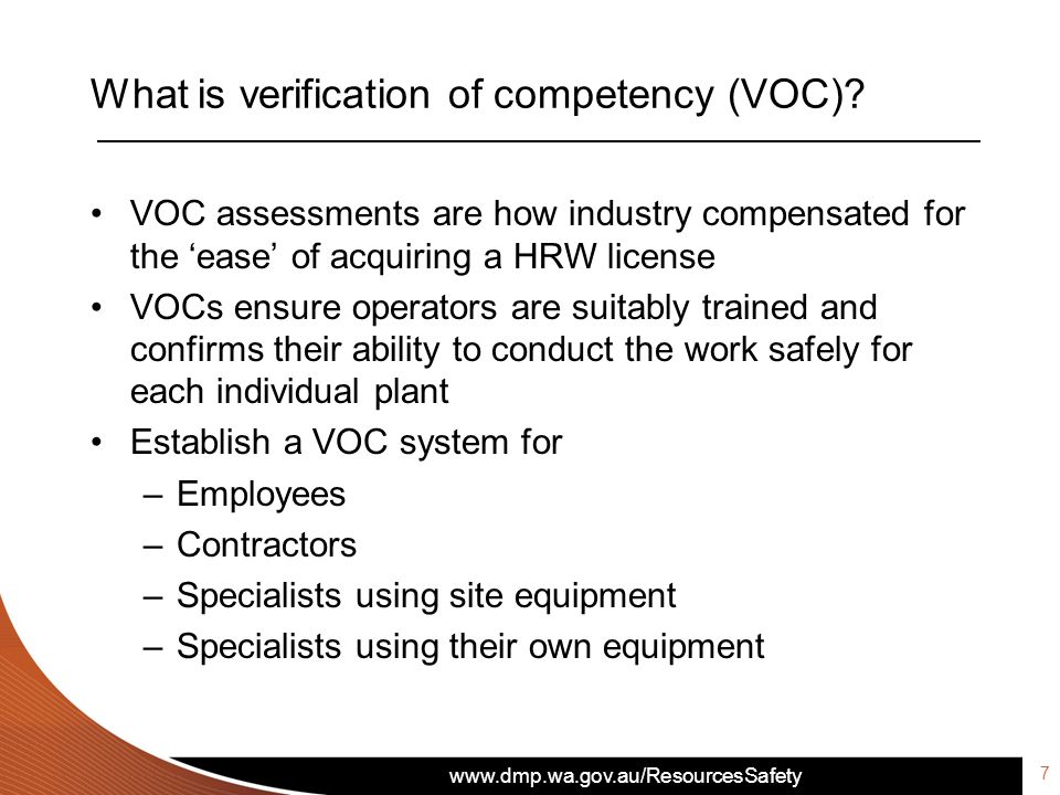 What is verification of competency (VOC)