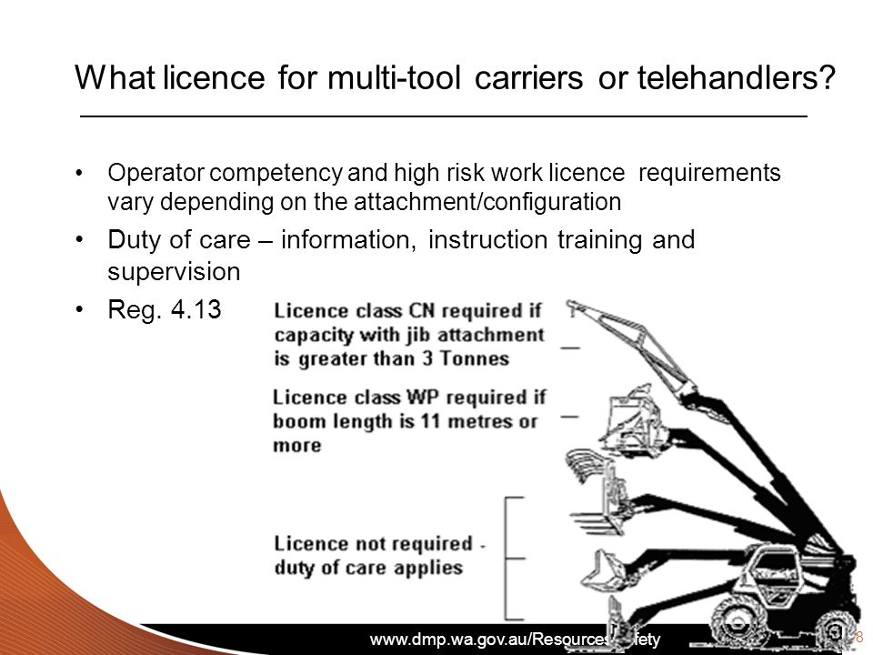 What licence for multi-tool carriers or telehandlers