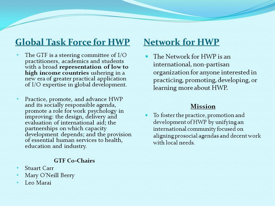 Global Task Force for HWP Network for HWP