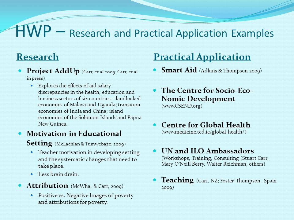 HWP – Research and Practical Application Examples