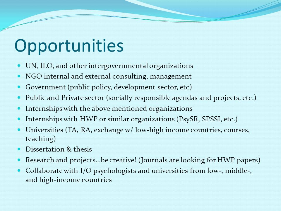 Opportunities UN, ILO, and other intergovernmental organizations