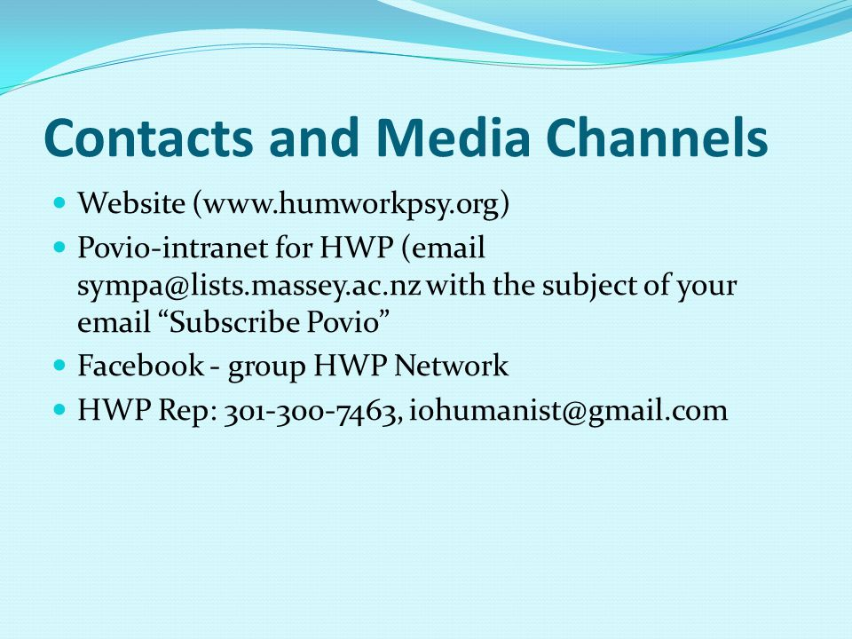 Contacts and Media Channels
