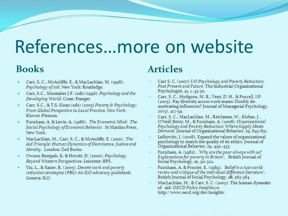 References…more on website