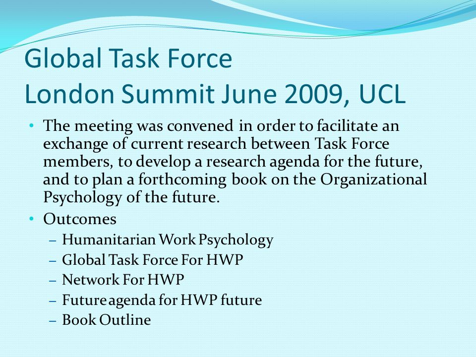 Global Task Force London Summit June 2009, UCL