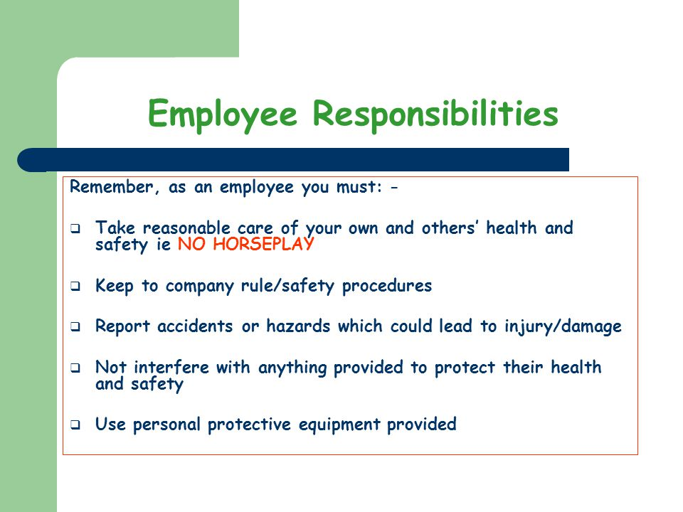 responsibilities of personal protection 1 personal responsibility for safety no safety rule is a complete substitute for common sense, nor can safety rules be devised to cover every situation experienced on the job.