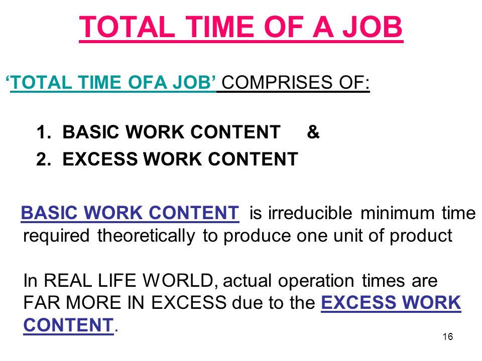 TOTAL TIME OF A JOB 'TOTAL TIME OFA JOB' COMPRISES OF: