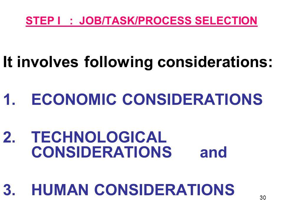 STEP I : JOB/TASK/PROCESS SELECTION