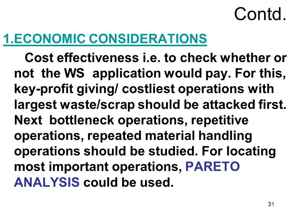 Contd. 1.ECONOMIC CONSIDERATIONS
