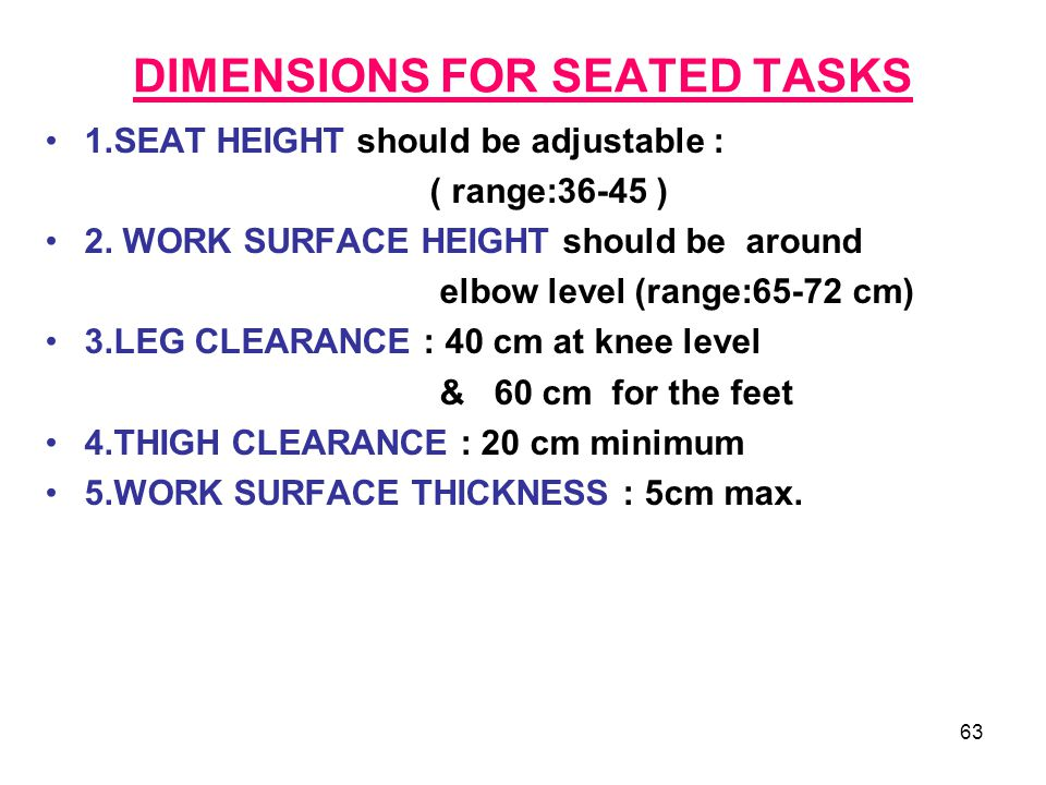 DIMENSIONS FOR SEATED TASKS
