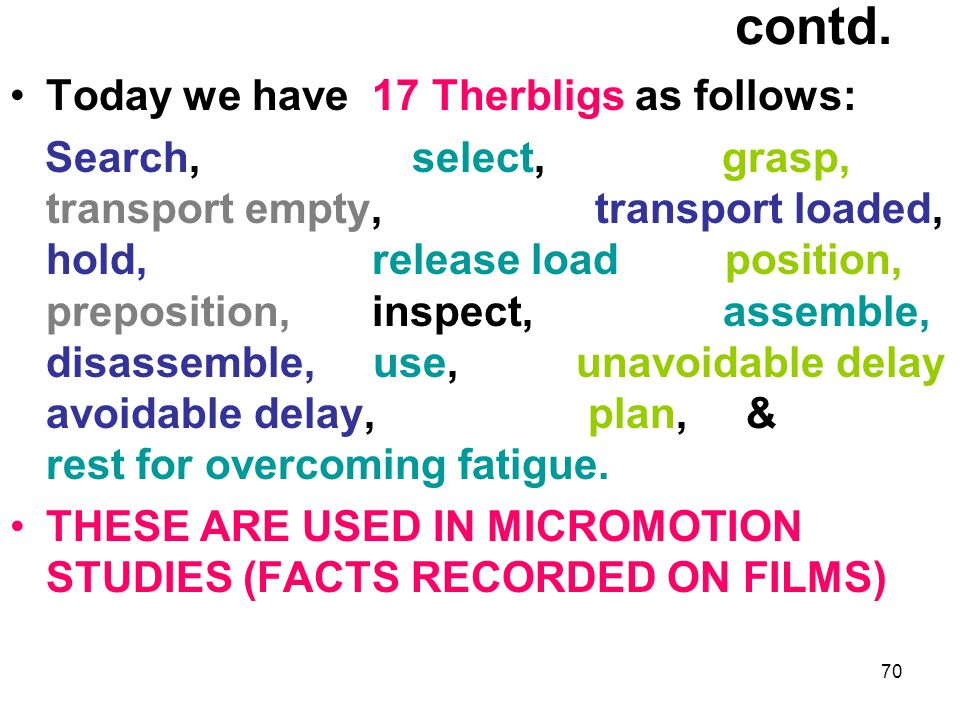 contd. Today we have 17 Therbligs as follows: