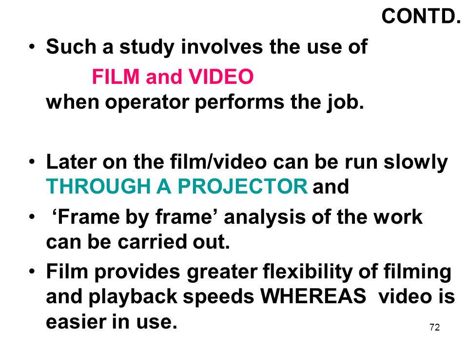 CONTD. Such a study involves the use of. FILM and VIDEO when operator performs the job.