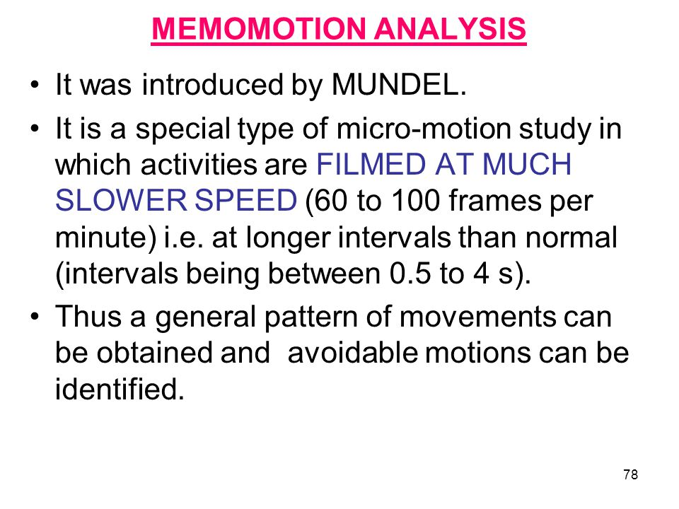 MEMOMOTION ANALYSIS It was introduced by MUNDEL.