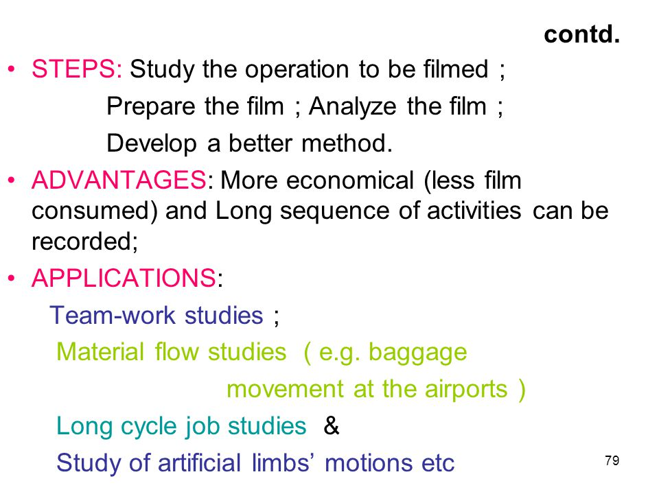 contd. STEPS: Study the operation to be filmed ;