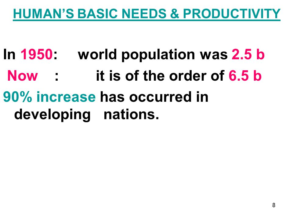 HUMAN'S BASIC NEEDS & PRODUCTIVITY