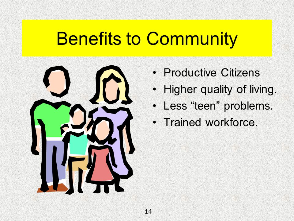 Benefits to Community Productive Citizens Higher quality of living.