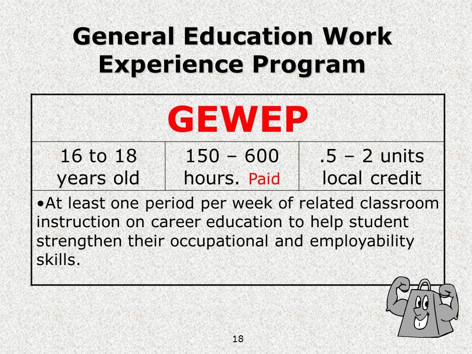 General Education Work Experience Program