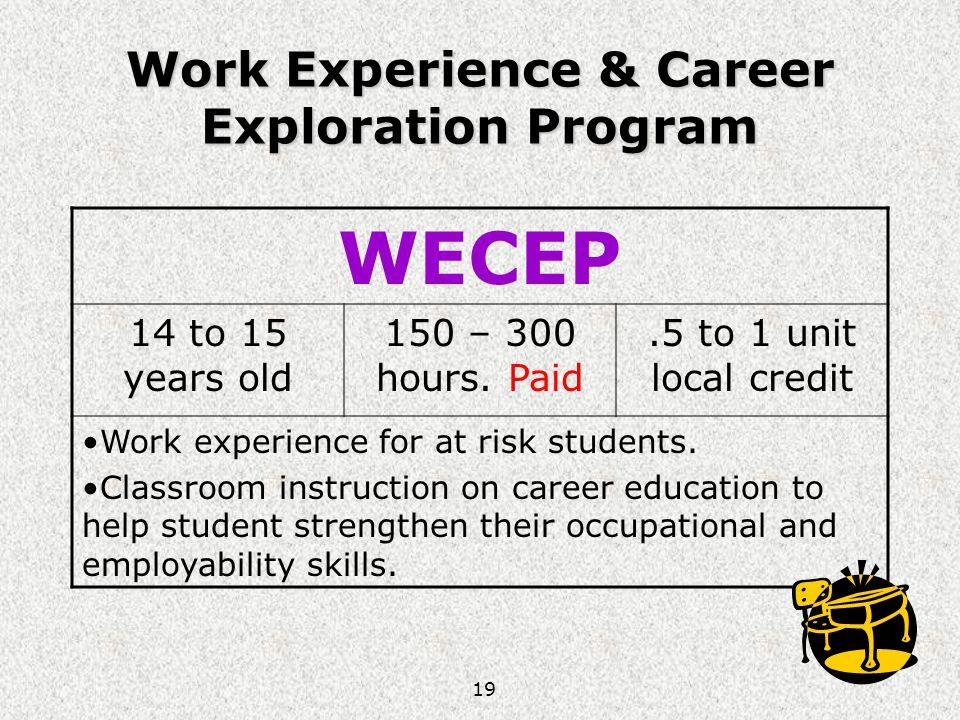 Work Experience & Career Exploration Program