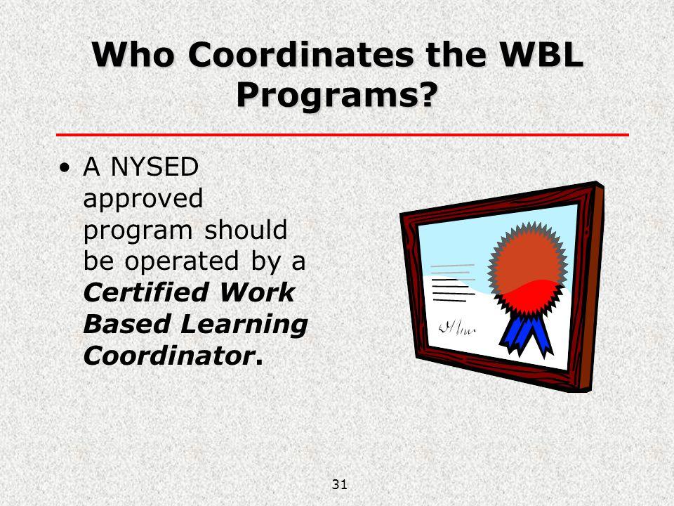 Who Coordinates the WBL Programs