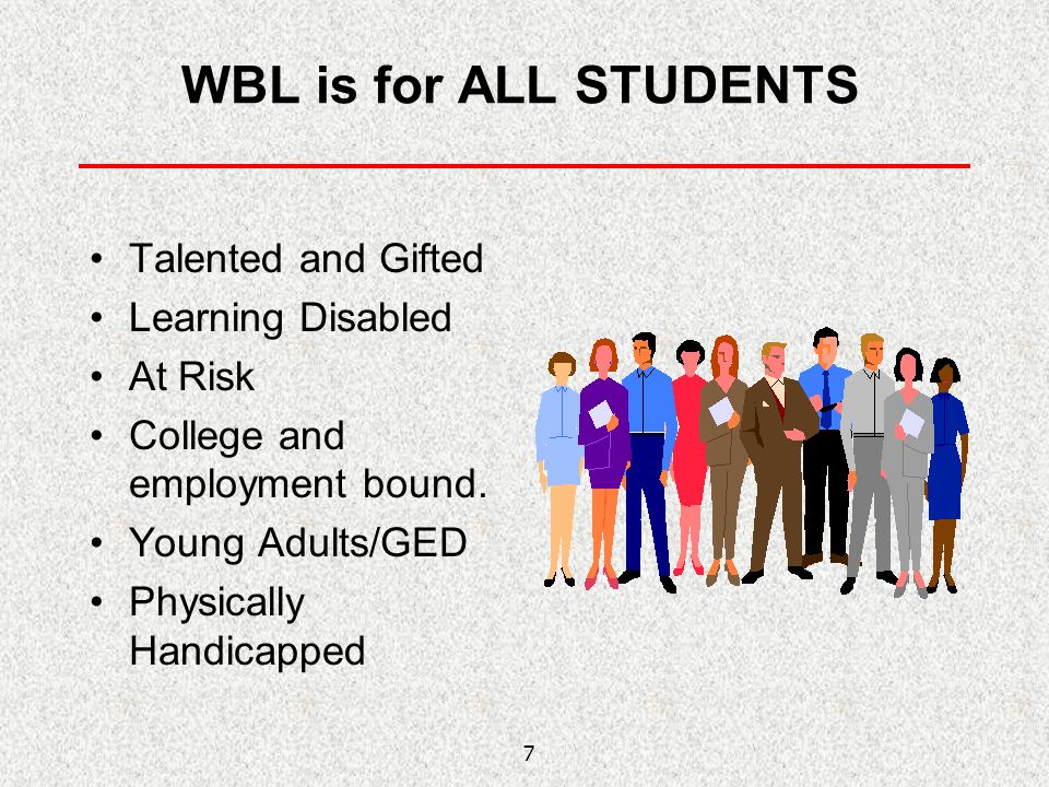 WBL is for ALL STUDENTS Talented and Gifted Learning Disabled At Risk