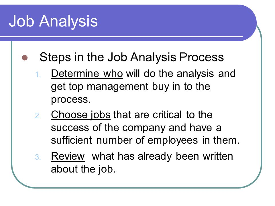 Job Analysis Steps in the Job Analysis Process