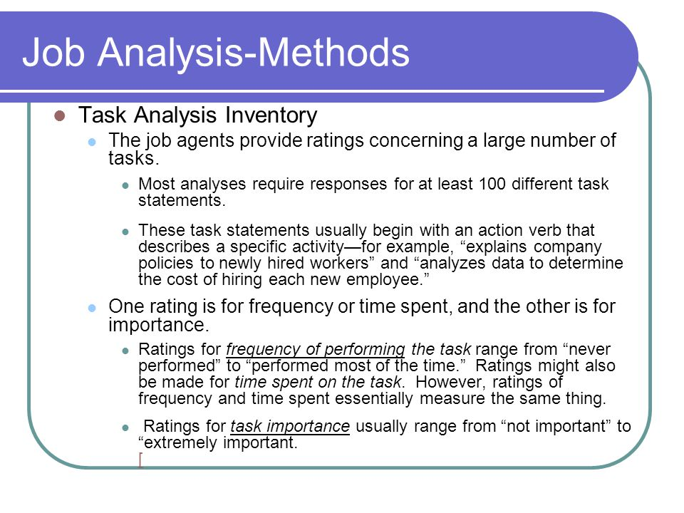 Job Analysis-Methods Task Analysis Inventory