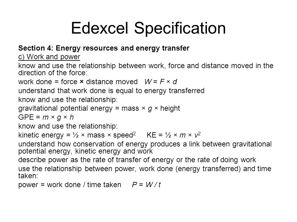 Edexcel Specification
