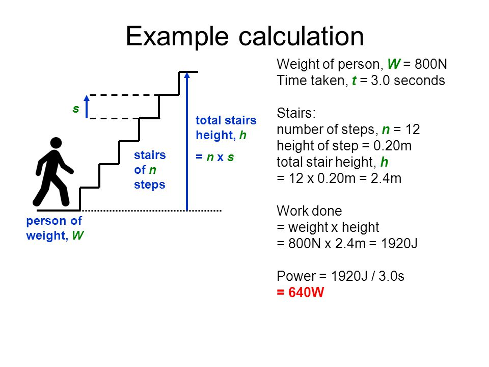 Example calculation Weight of person, W = 800N