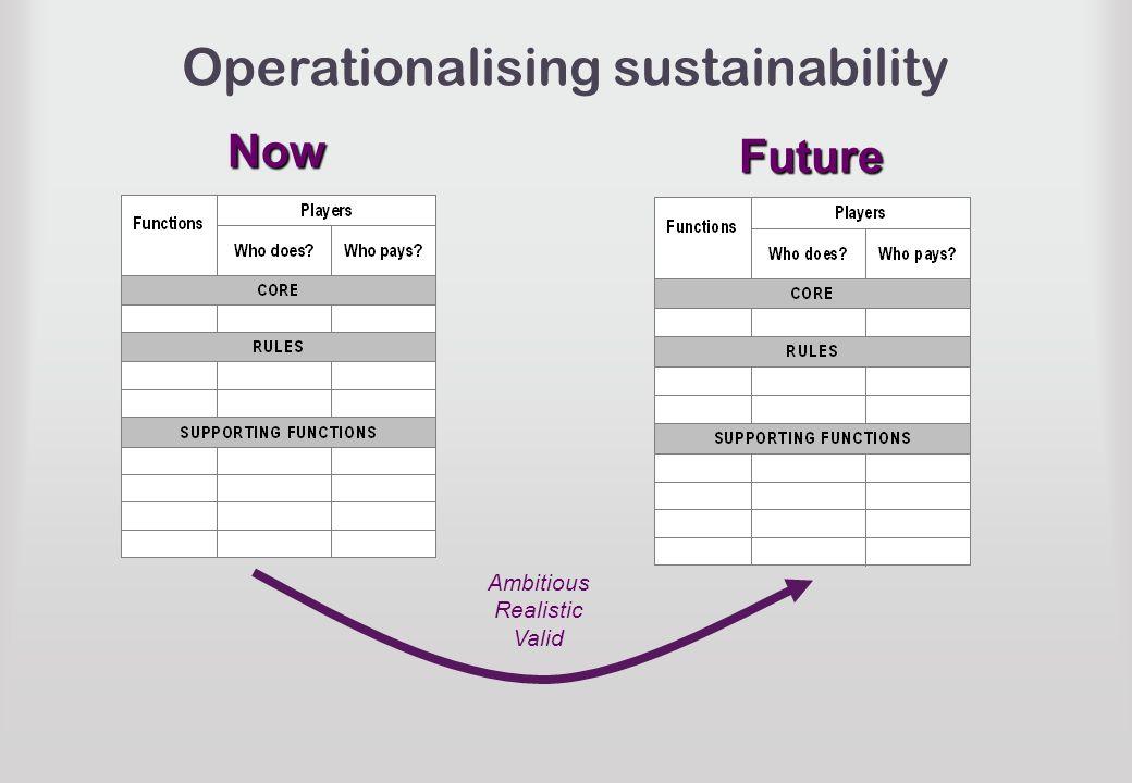Operationalising sustainability