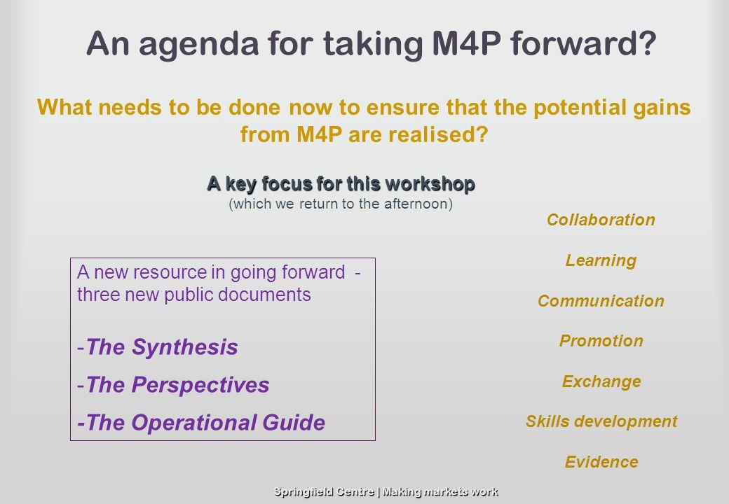 An agenda for taking M4P forward