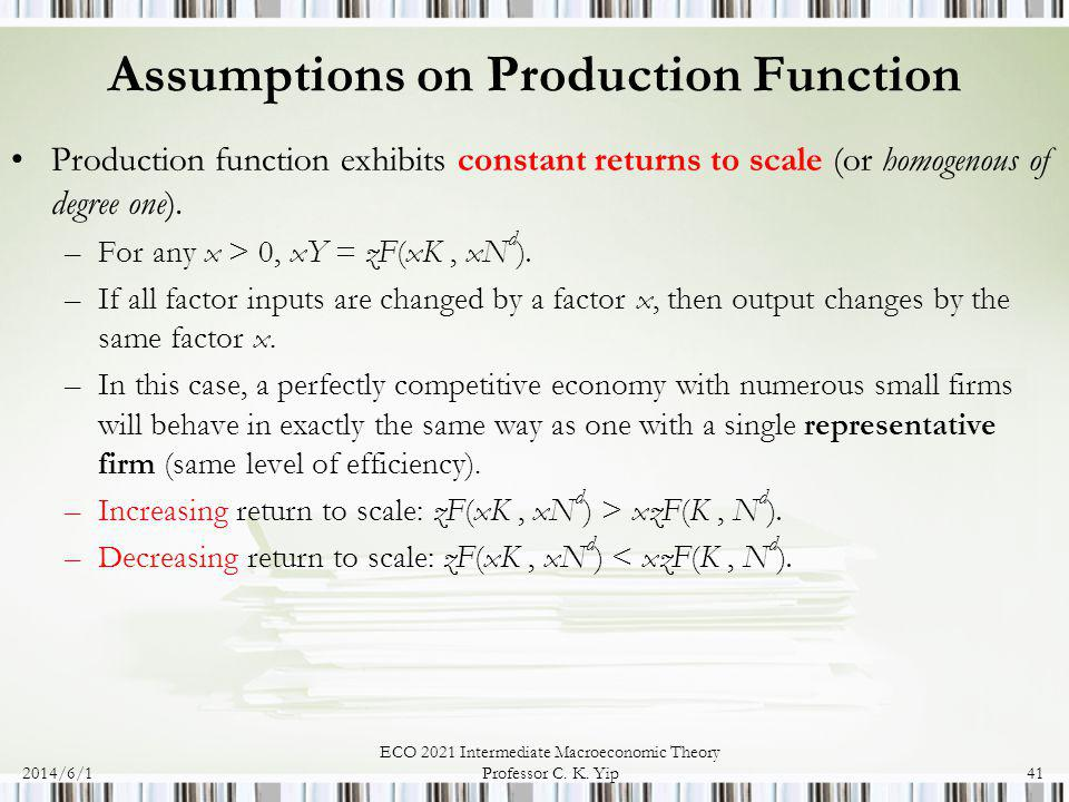 Assumptions on Production Function