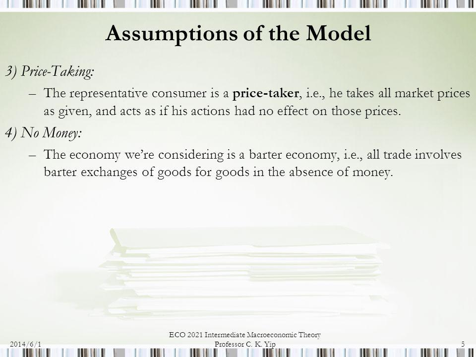 Assumptions of the Model