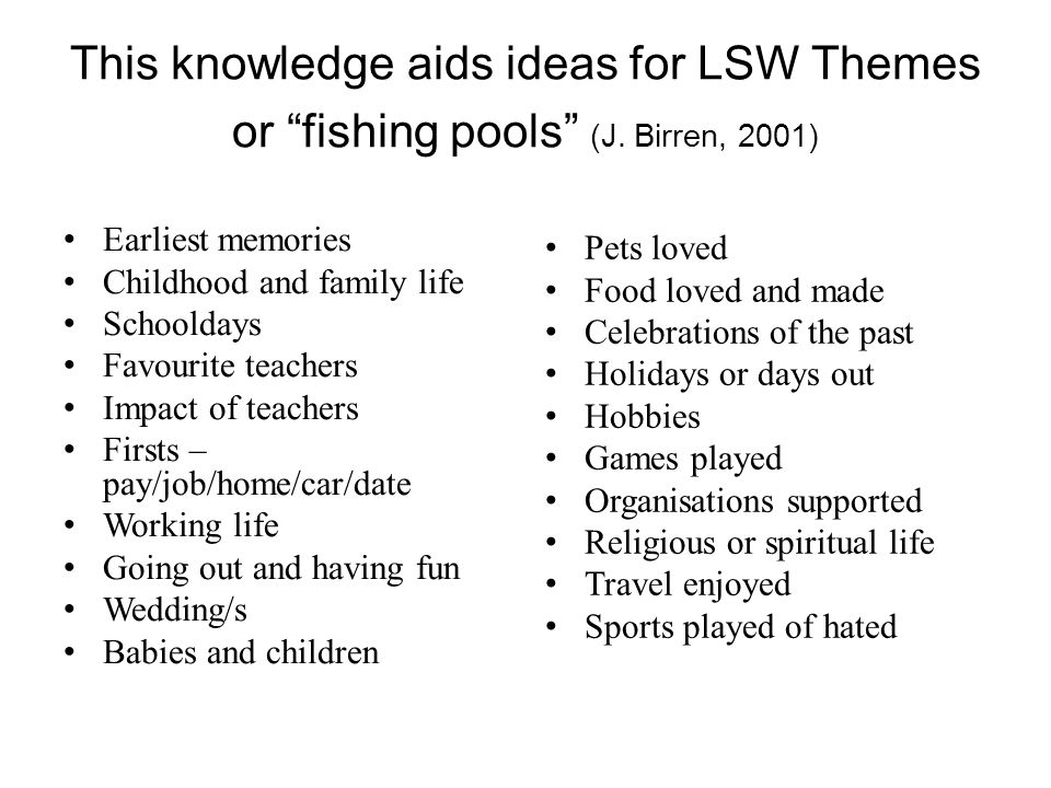 This knowledge aids ideas for LSW Themes or fishing pools (J