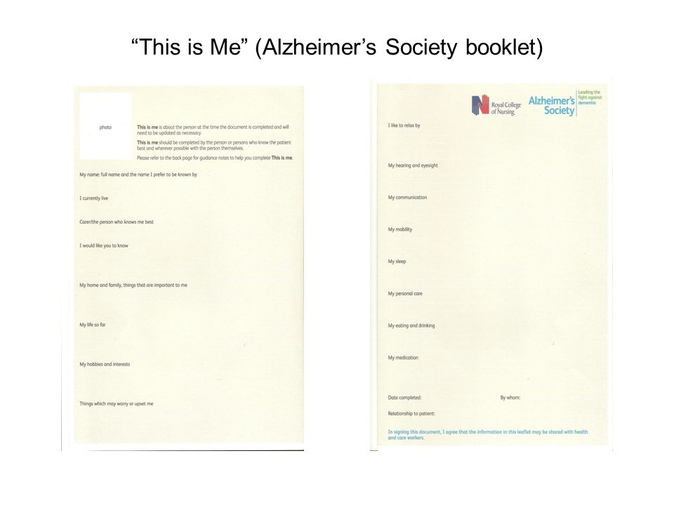 This is Me (Alzheimer's Society booklet)