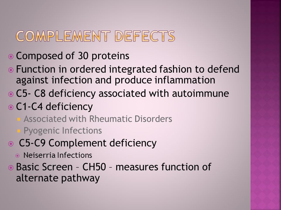 Complement defects Composed of 30 proteins