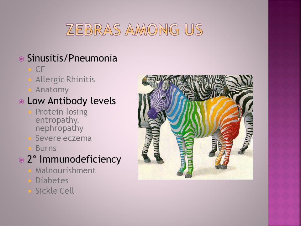 Zebras among us Sinusitis/Pneumonia Low Antibody levels