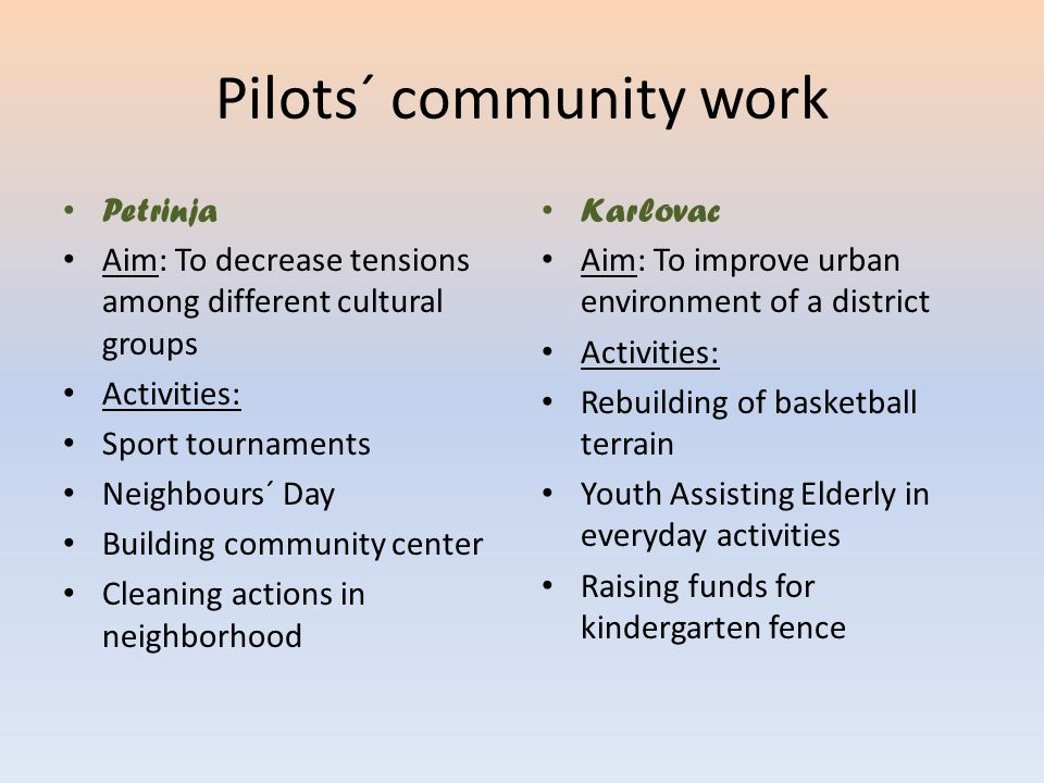 Pilots´ community work