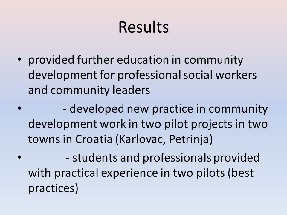 Results provided further education in community development for professional social workers and community leaders.