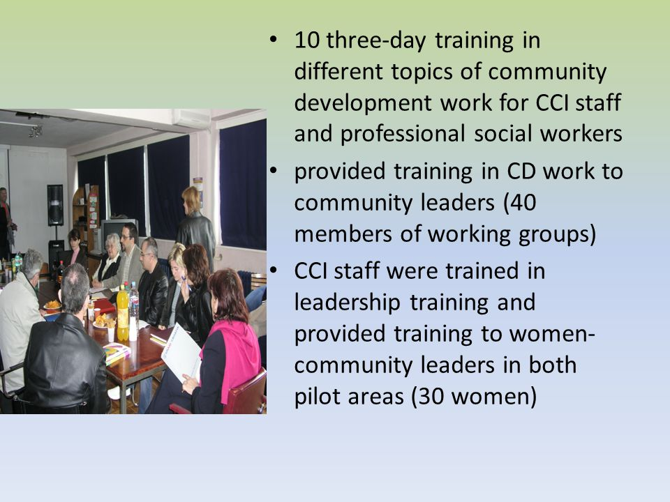 10 three-day training in different topics of community development work for CCI staff and professional social workers