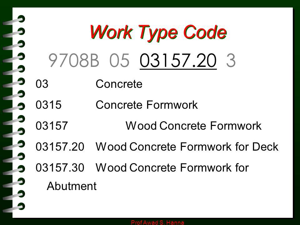 Work Type Code 9708B 05 03157.20 3 03 Concrete 0315 Concrete Formwork
