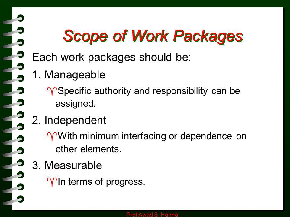 Scope of Work Packages Each work packages should be: 1. Manageable