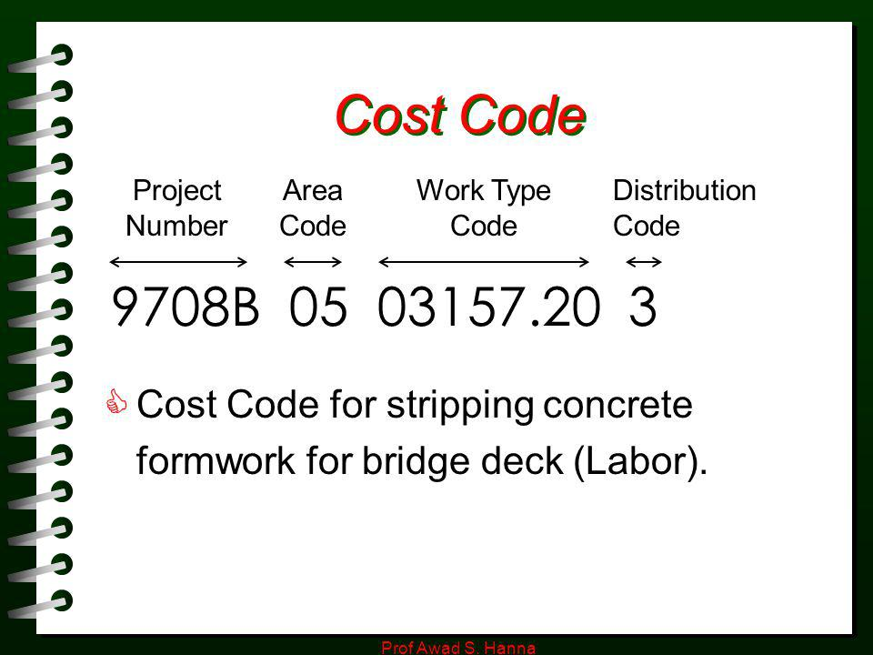 Cost Code Project. Number. Area. Code. Work Type Code. Distribution. Code. 9708B 05 03157.20 3.
