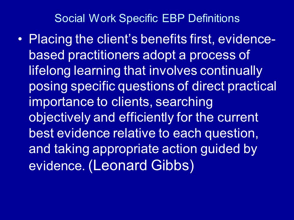 Social Work Specific EBP Definitions