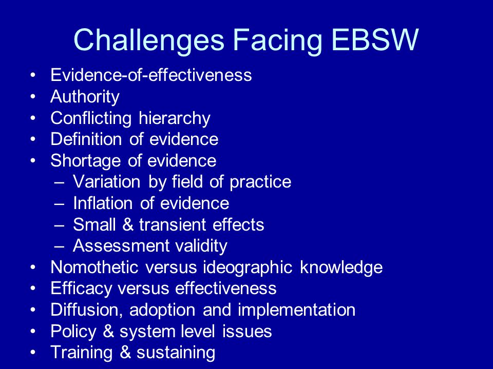 Challenges Facing EBSW
