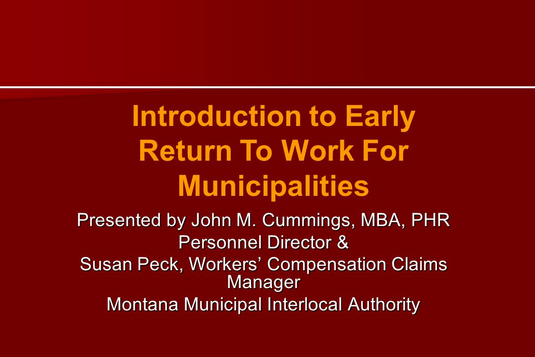 Introduction to Early Return To Work For Municipalities