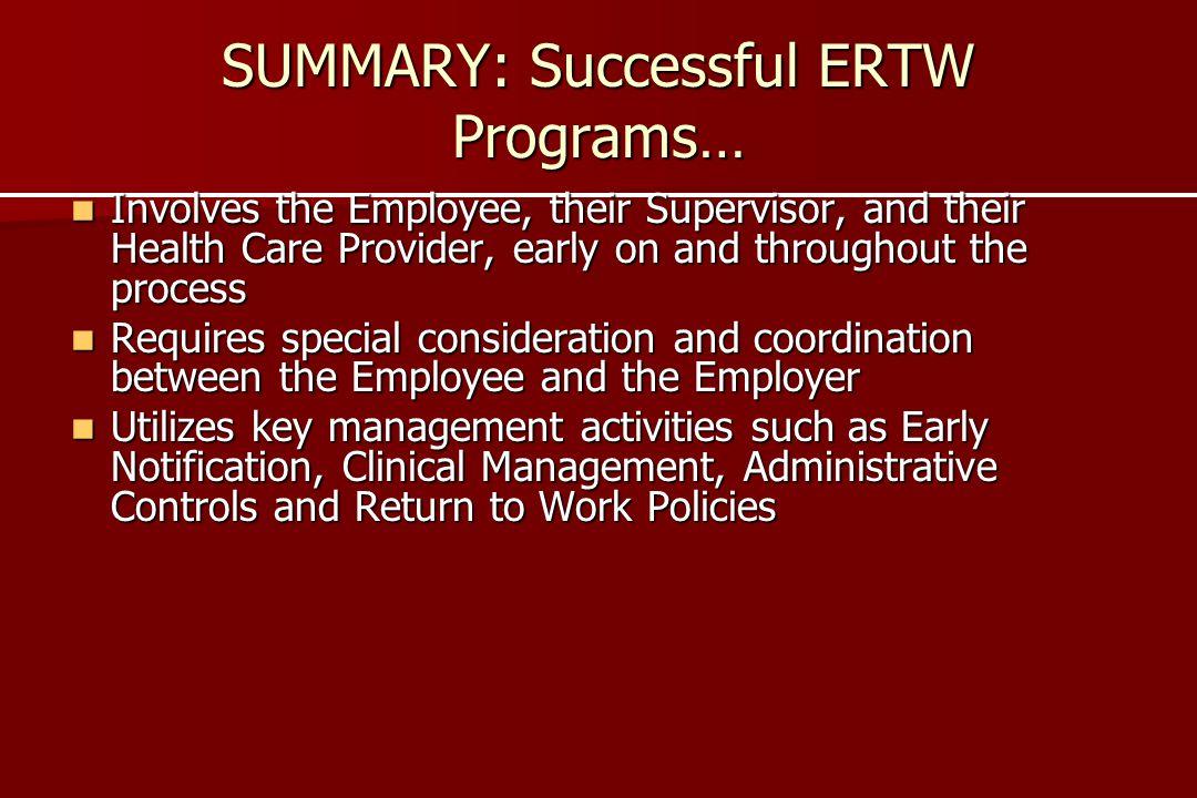 SUMMARY: Successful ERTW Programs…